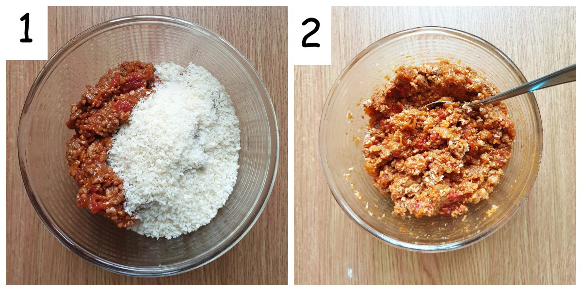 Two images showing ingredients being mixed into the filling for sausage rolls.