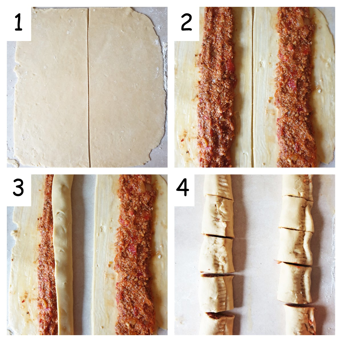 Collage of 4 images showing steps to assemble the sausage rolls.