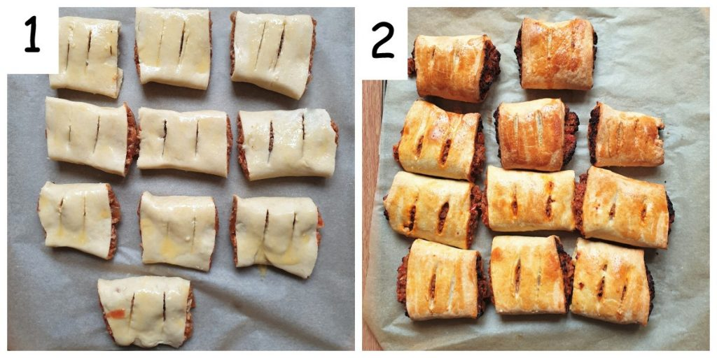 Two images, one showing a tray of unbaked sausage rolls, the other showing a tray of baked sausage rolls.