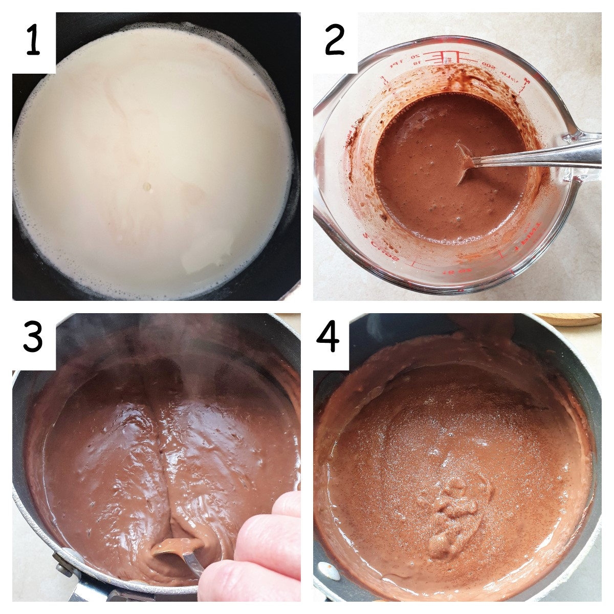 Collage showing steps to make chocolate custard.