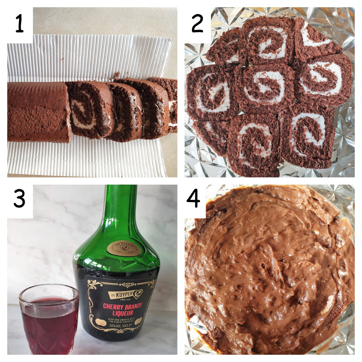 Collage showing how to form the first layer of the boozy black forest trifle.