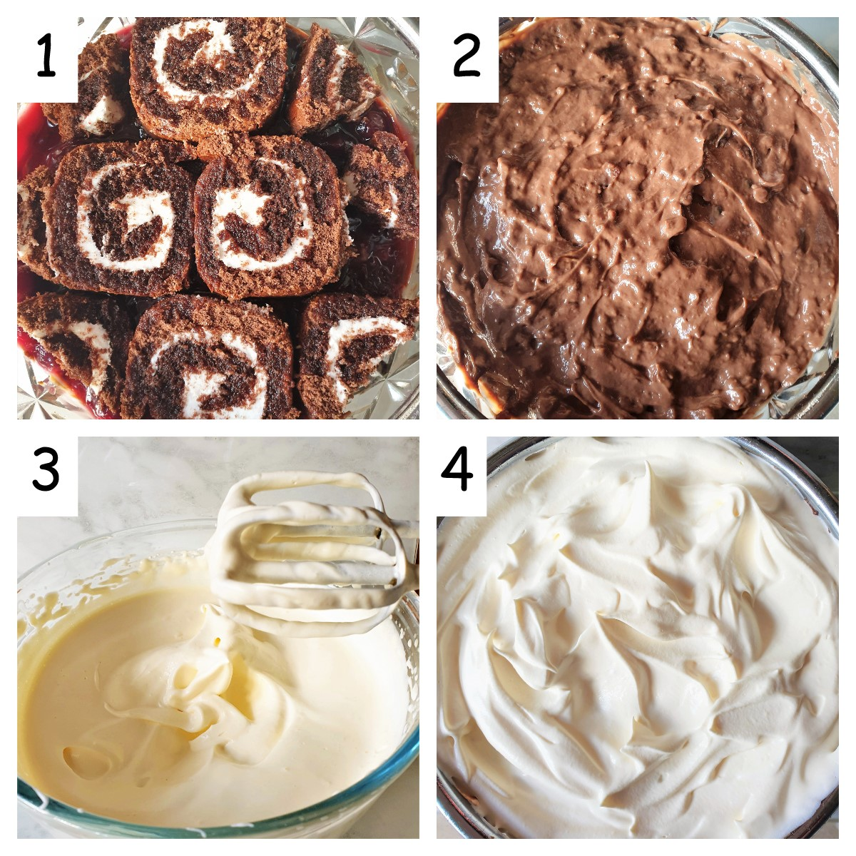 Collage showing how to complete the black forest trifle.