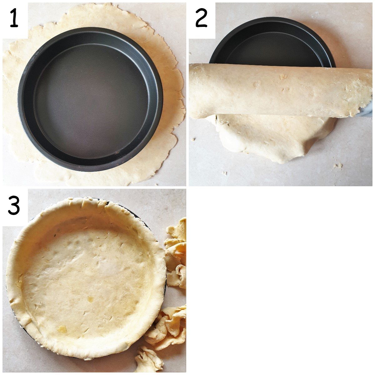 Collage of images showing how to line a baking dish with pastry.