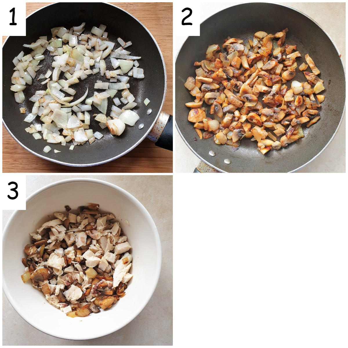 collage of 3 images showing how to prepare the filling for chicken and mushroom quiche.