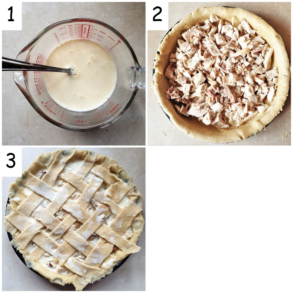 Collage of 3 images showing how to fill the pie and cover with pastry.