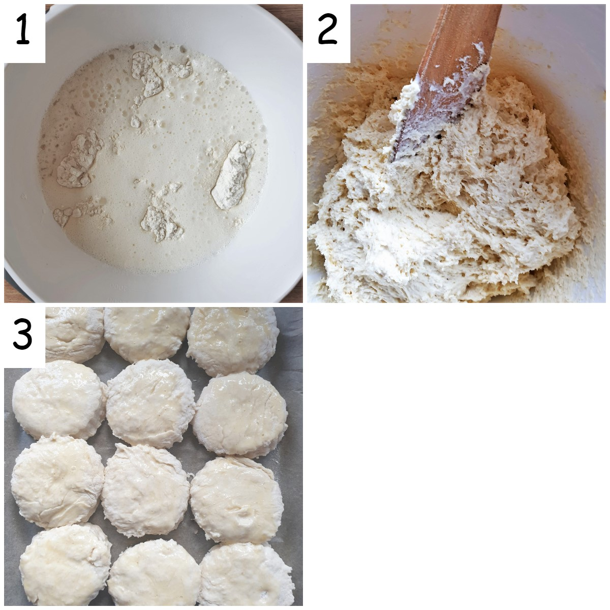 Collage of 3 images showing steps for mixing lemonade scones.