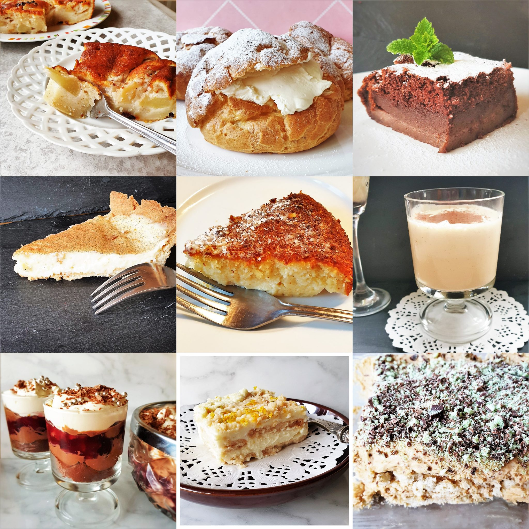 A collage of 9 dessert recipe images.