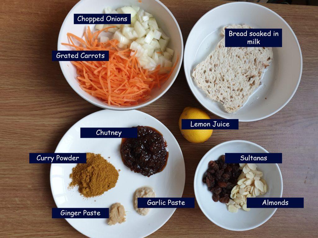 Ingredients for bobotjie.