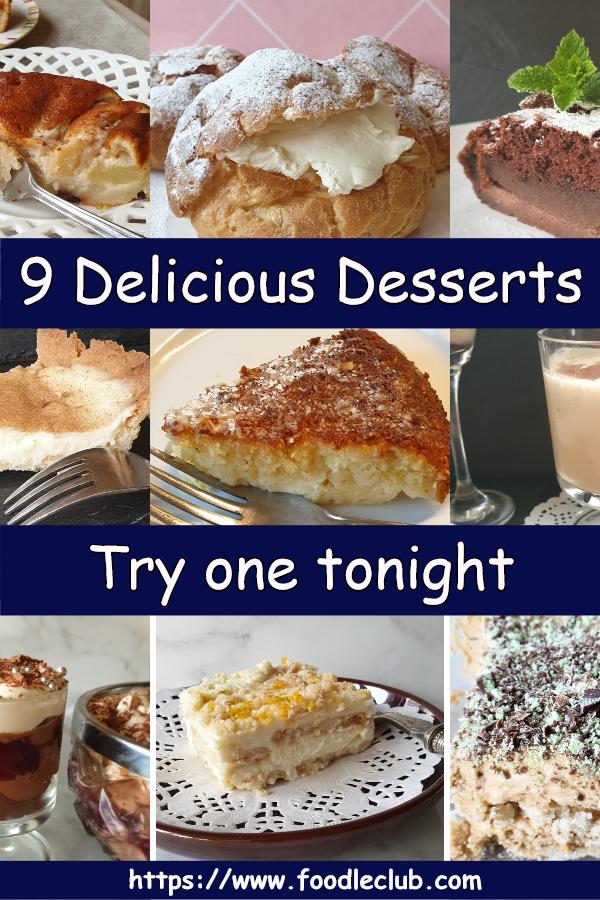 A collageof 9 delicious desserts.