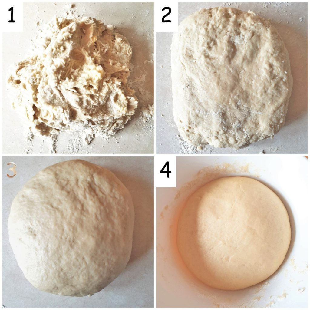 A collage of 4 images showing steps for making the dough for the chelsea buns.