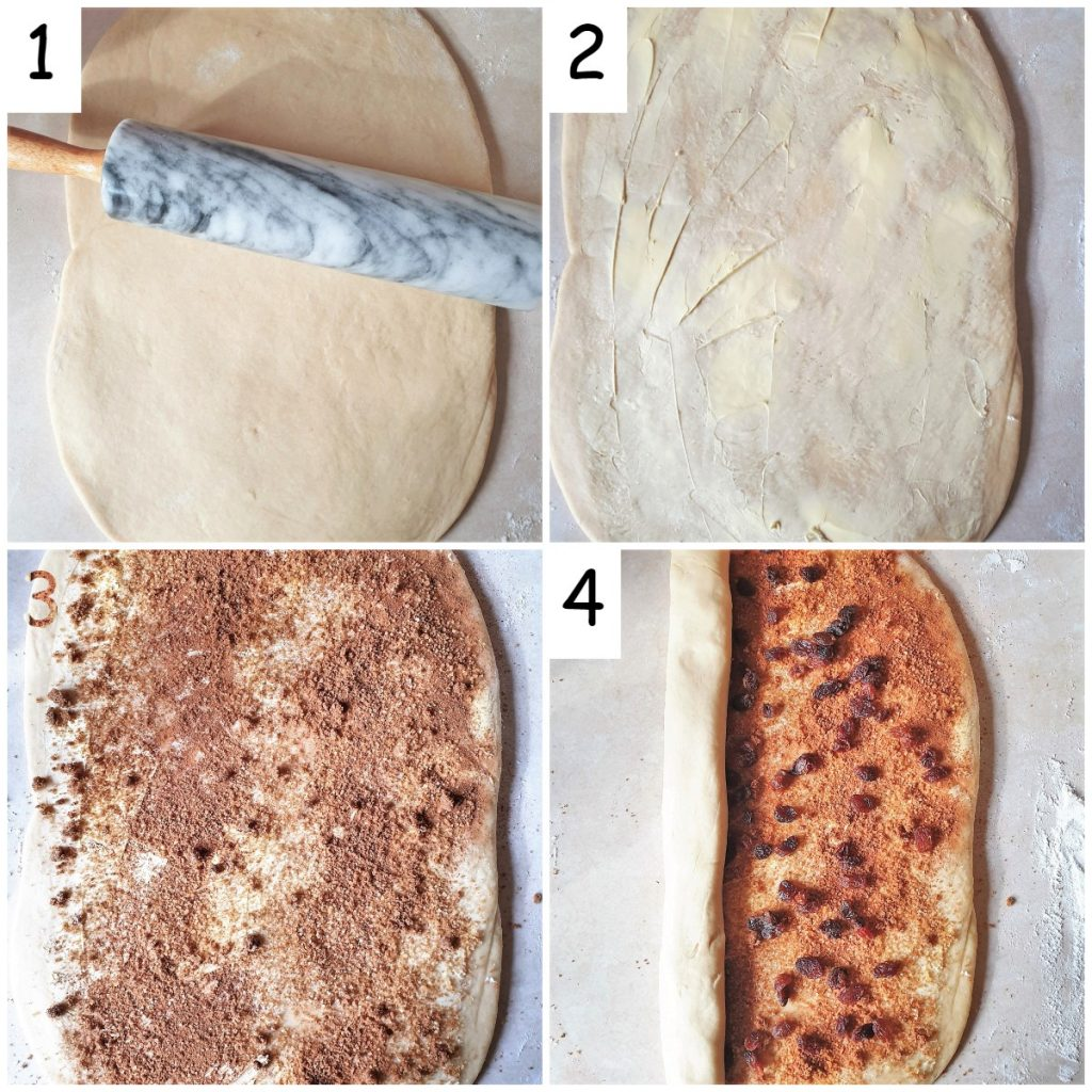 A collage of 4 images showing steps for rolling the pastry and adding the filling to the chelsea buns.