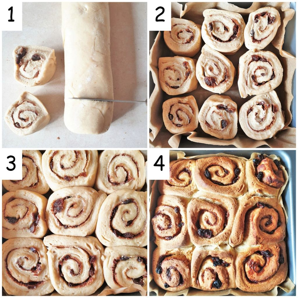 A collage of 4 images showing steps for shaping and baking the chelsea buns