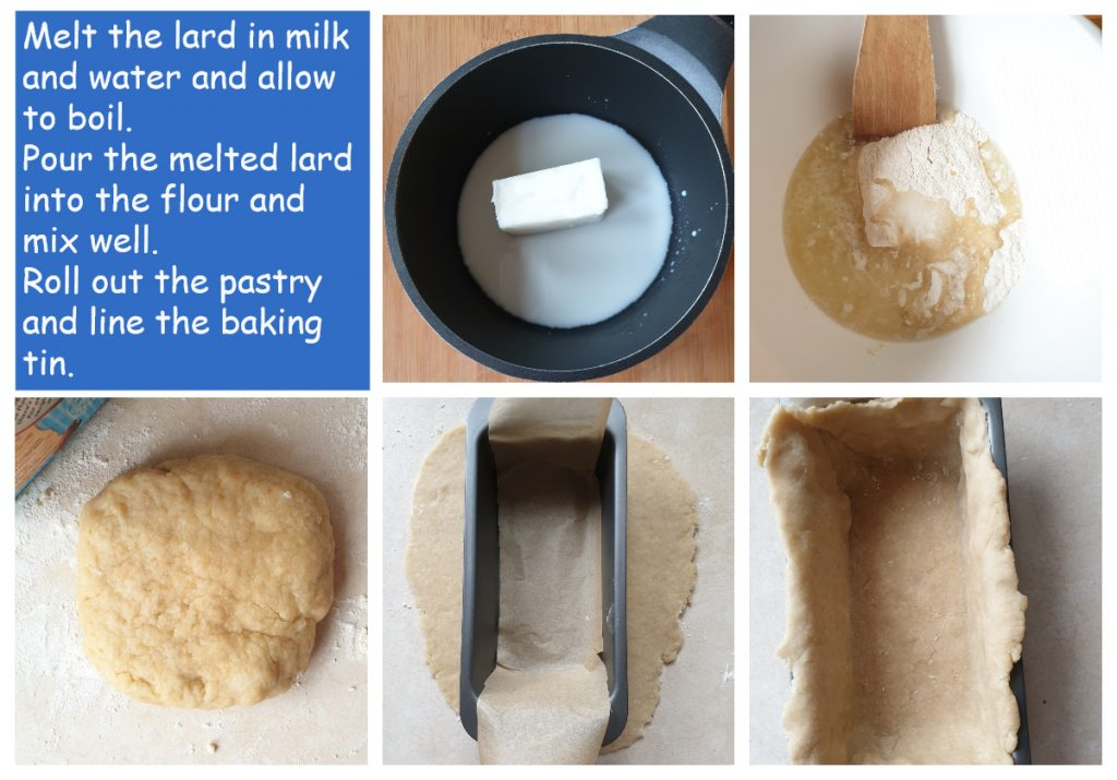 Second collage of steps to make a pork pie.