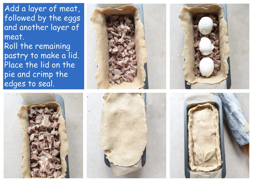 Third collage of steps to make a pork pie.