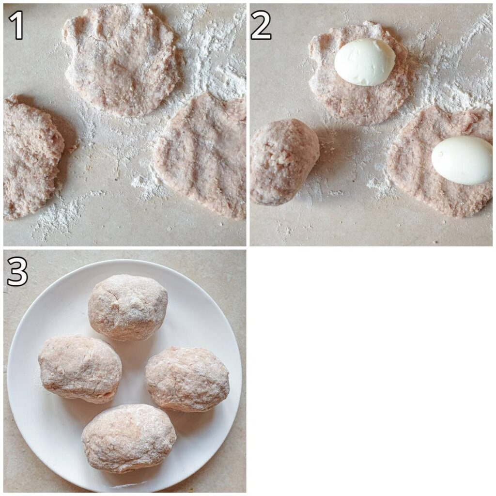 Steps for coating the eggs with pork sausage meat.