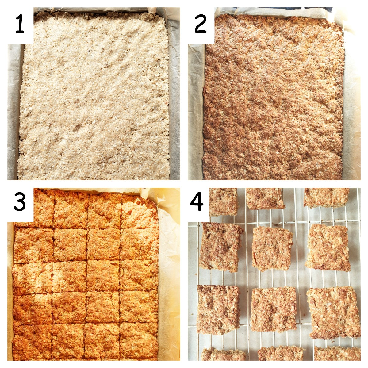 Collage of 4 images showing steps for baking crunchies.