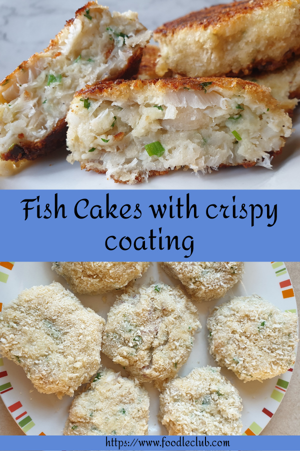 A homemade fishcake cut in half to show the inside.
