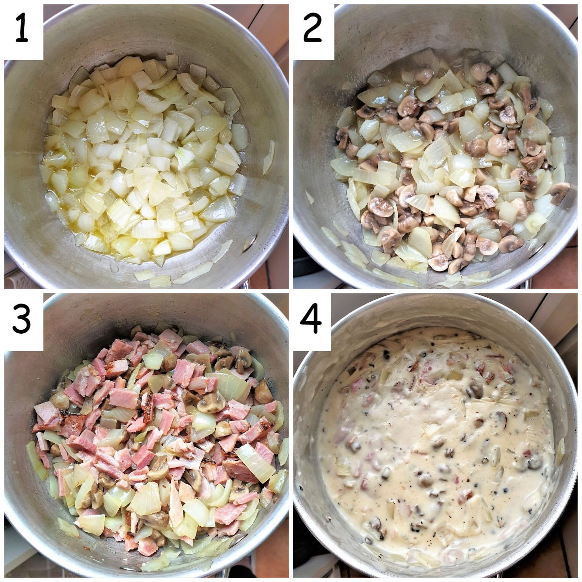 Collage of 4 images showing steps for making ham and mushroom tagliatelle.