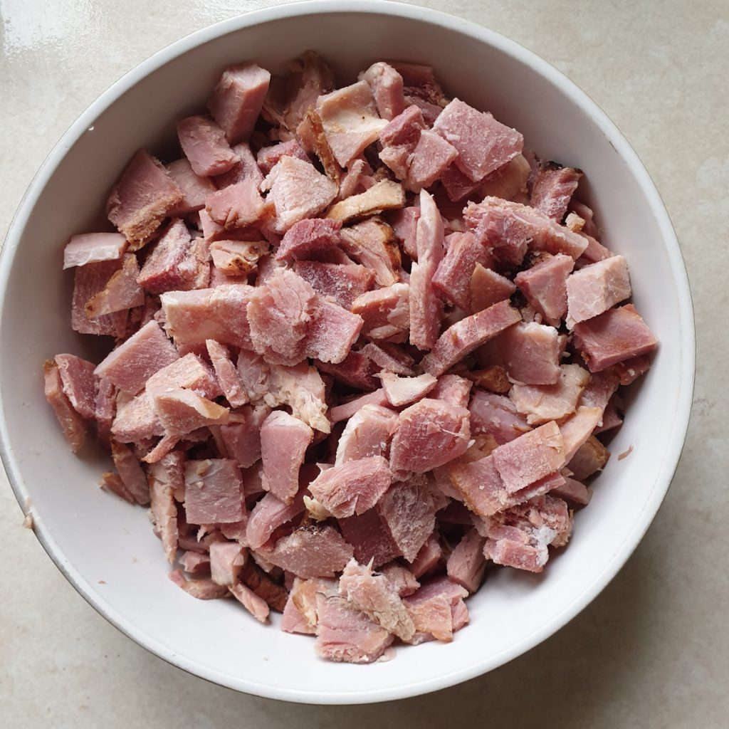 A bowl of chopped ham.