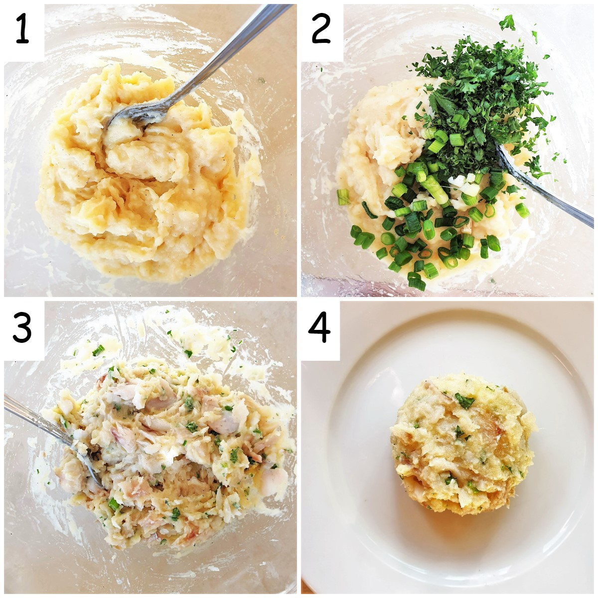 A collage of 4 images showing steps to mix and form the fishcakes.
