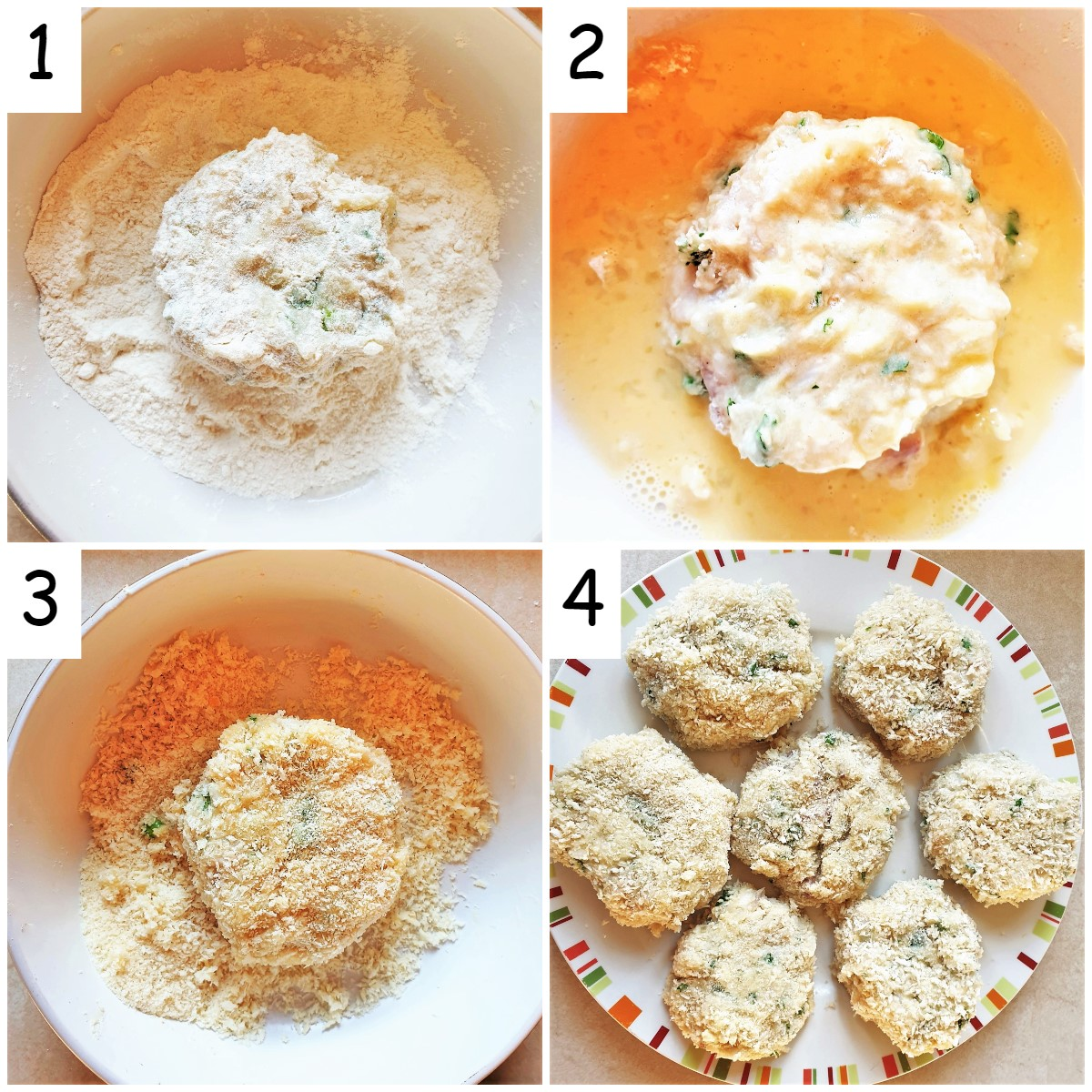 A collage of 4 images showing steps for coating the fishcakes.