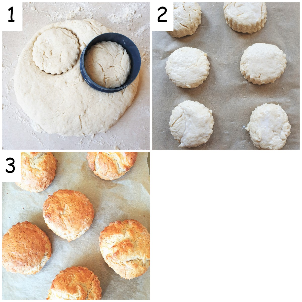 A collage of 3 images showing how to cut the scones and bake them.