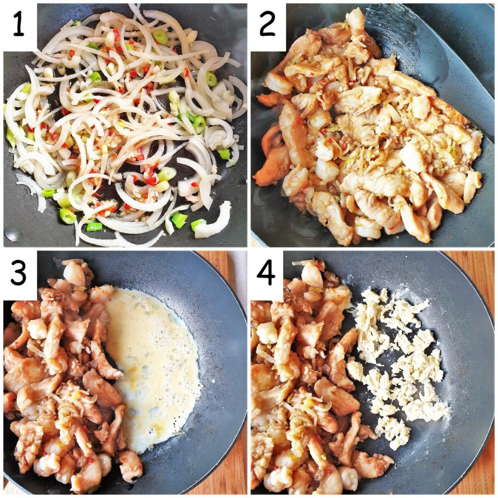 A collage of 4 images showing how to stirfry the vegetables, add the chicken and shrimp and scramble the egg.