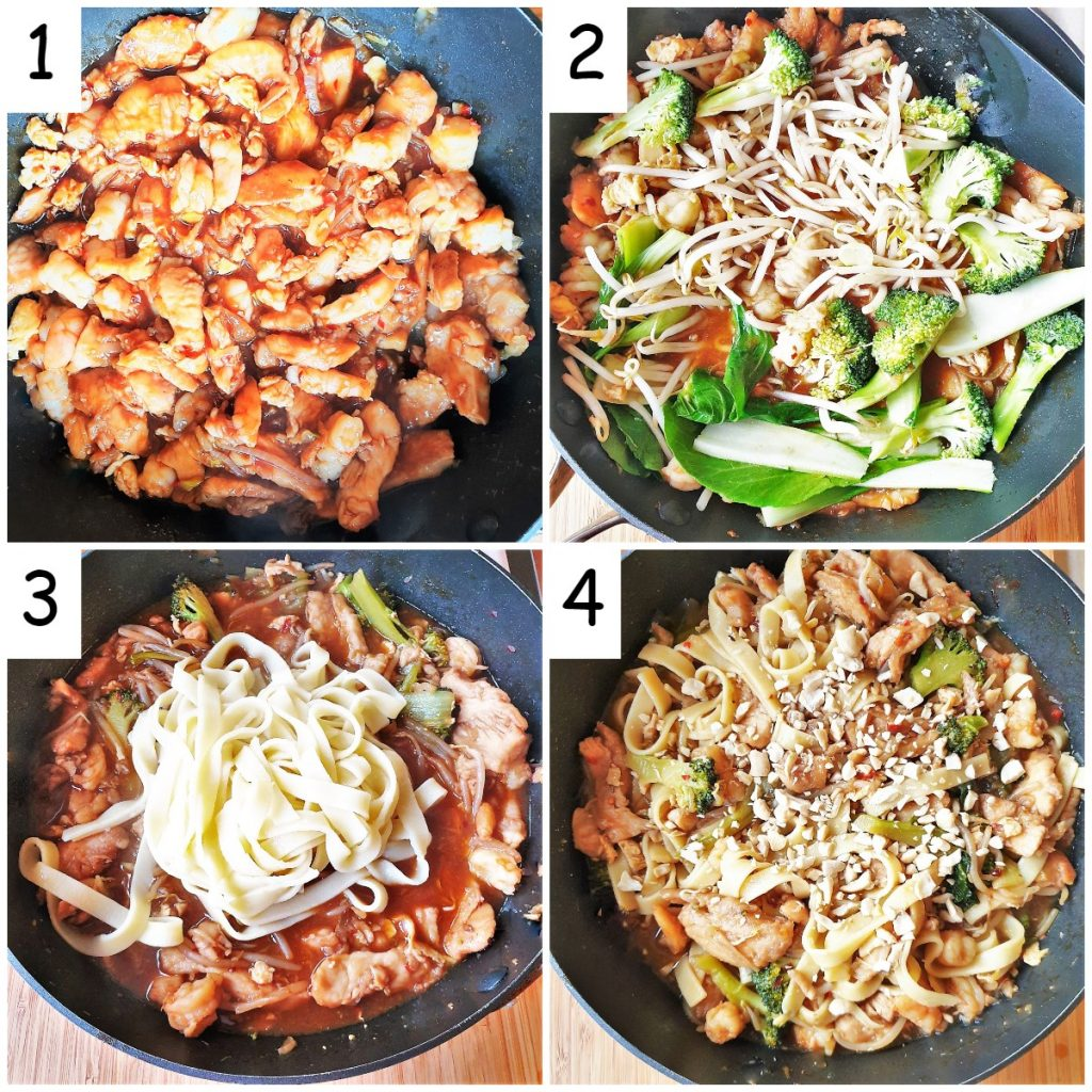 A collage of 4 images showing how to add the vegetables and noodles and complete the dish with a sprinkling of peanuts.