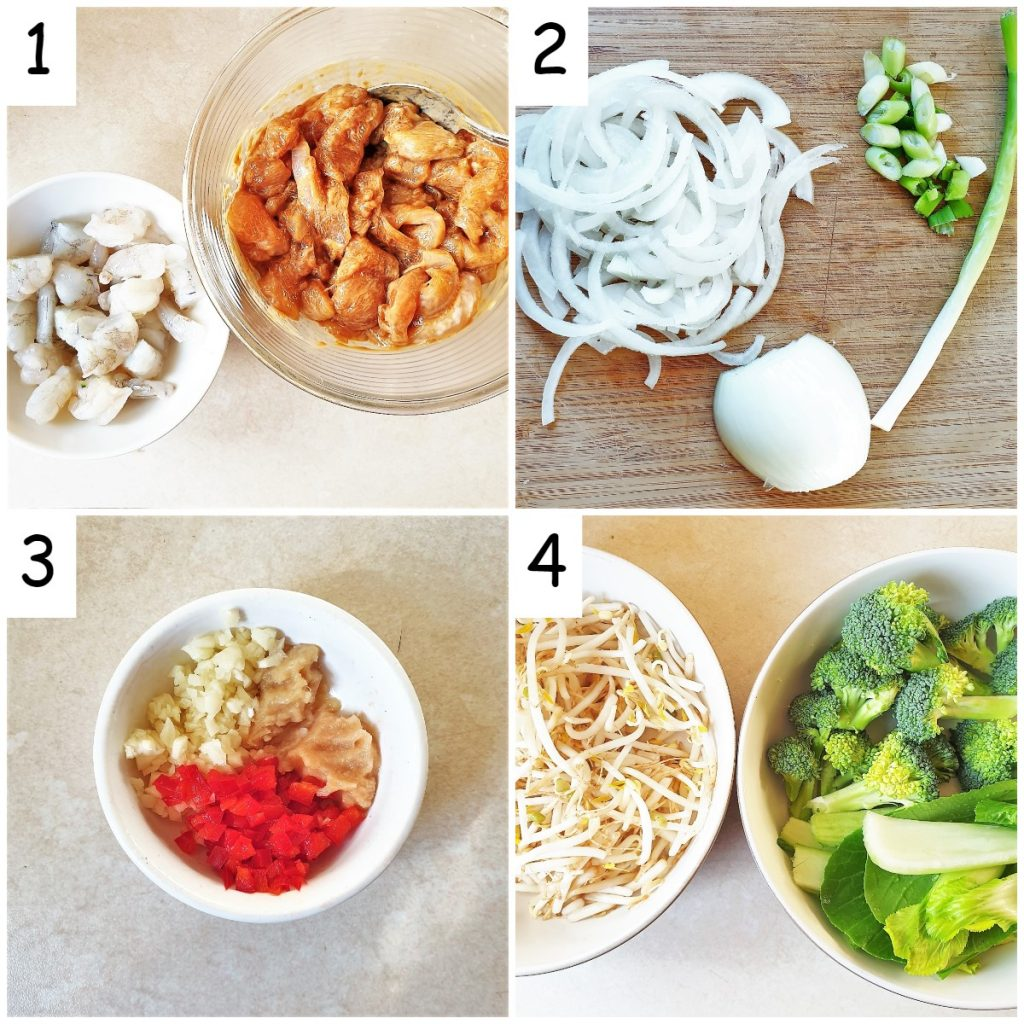 A collage of 4 images showing preparation steps for pad thai noodles.