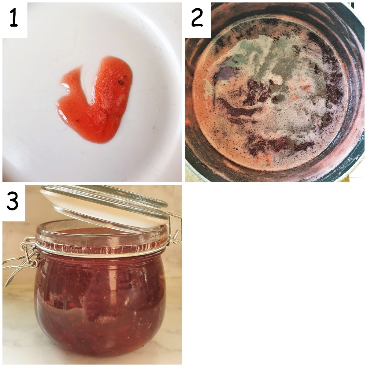 A collage of 3 images showing strawberry jam being boiled and tested for thickness.