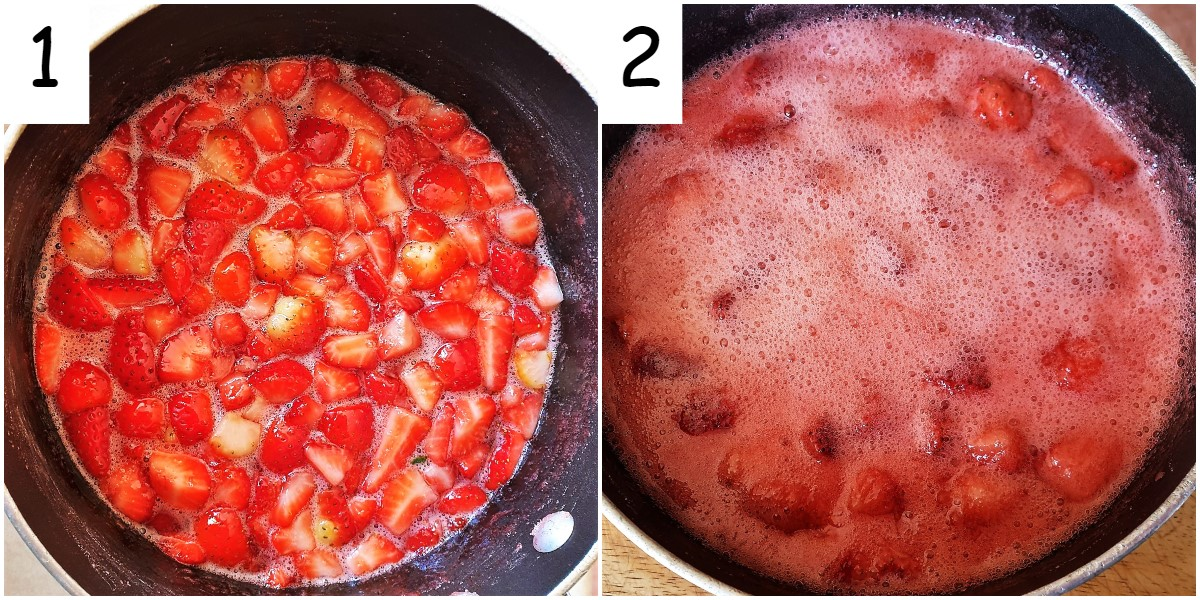 2 images showing strawberries boiling in a pan