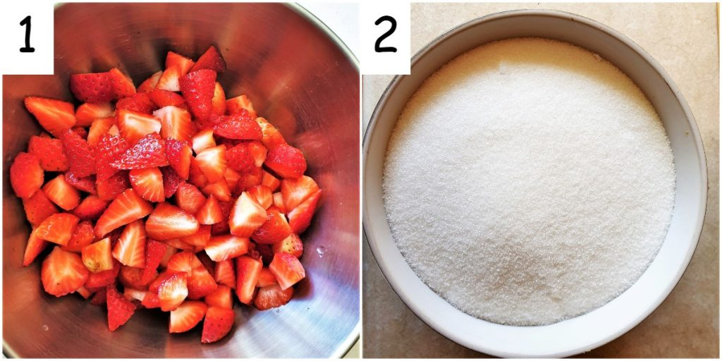 A bowl of chopped up strawberries and a dish of white sugar.