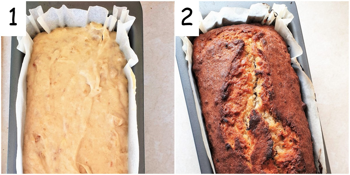 Two images showing the unbaked and the baked banana walnut loaf.
