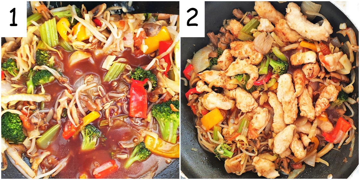 Two images showing the sauce being mixed in with the garlic chicken and vegetables.
