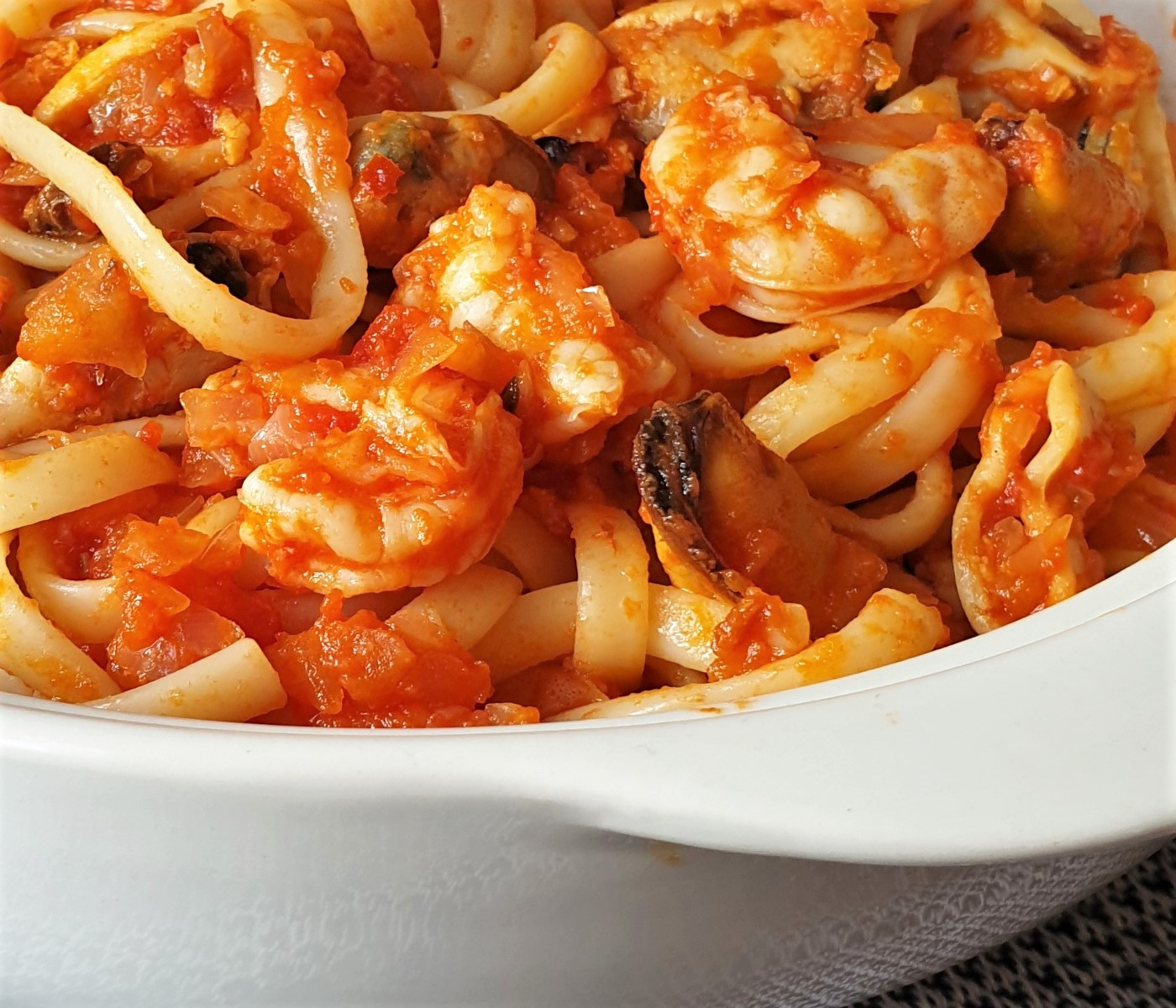 Close up of a dish of pasta pescatone.