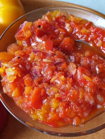 Overhead shot of a dish of sweet pepper relish.