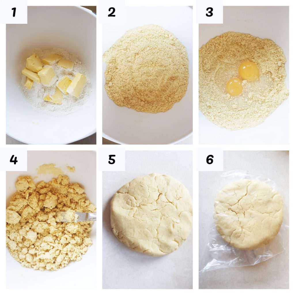 Collage showing the steps for making shortcrust pastry.