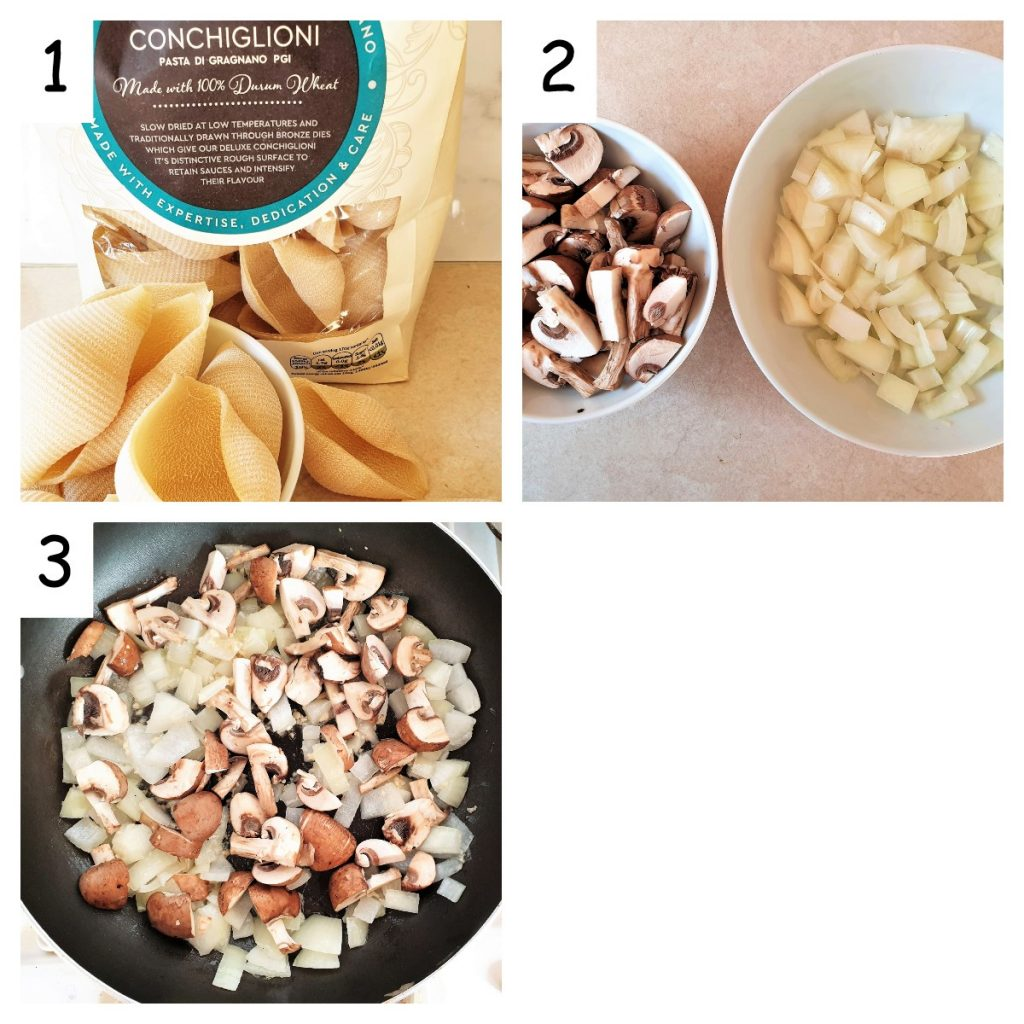 Collage showing ingredients for seafood stuffed pasta shells.