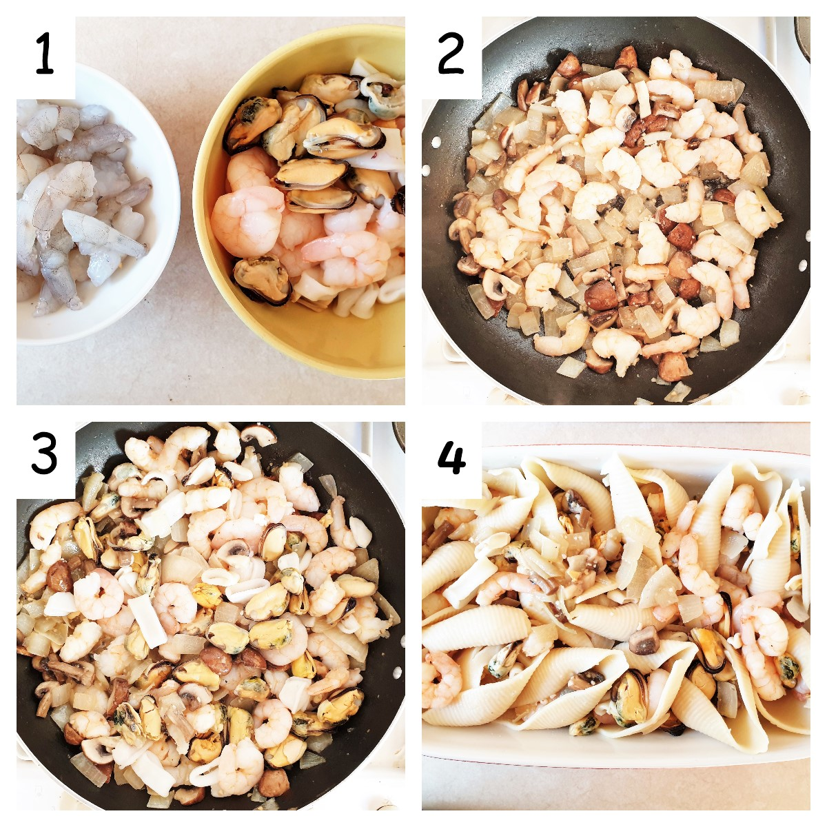 Collage showing steps for filling seafood pasta.