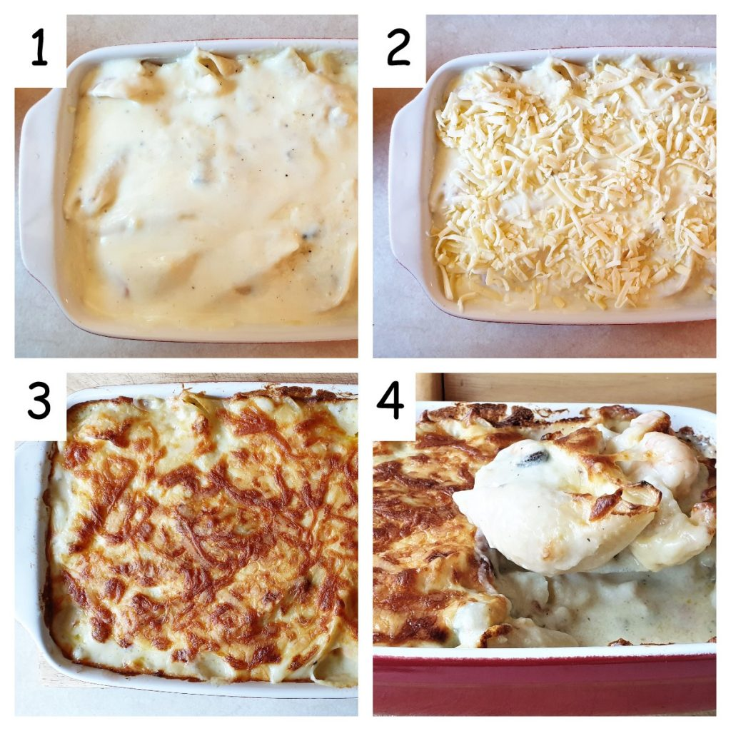 Collage showing seafood stuffed pasta shells being covered with cheese before being baked.