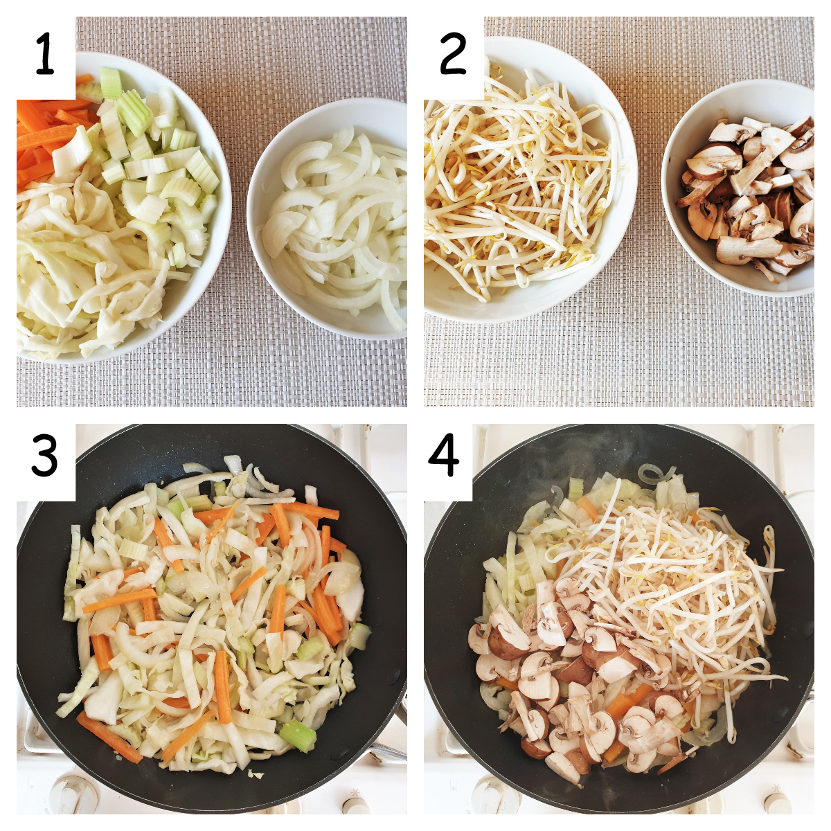 First collage of images showing steps for making chow mein.