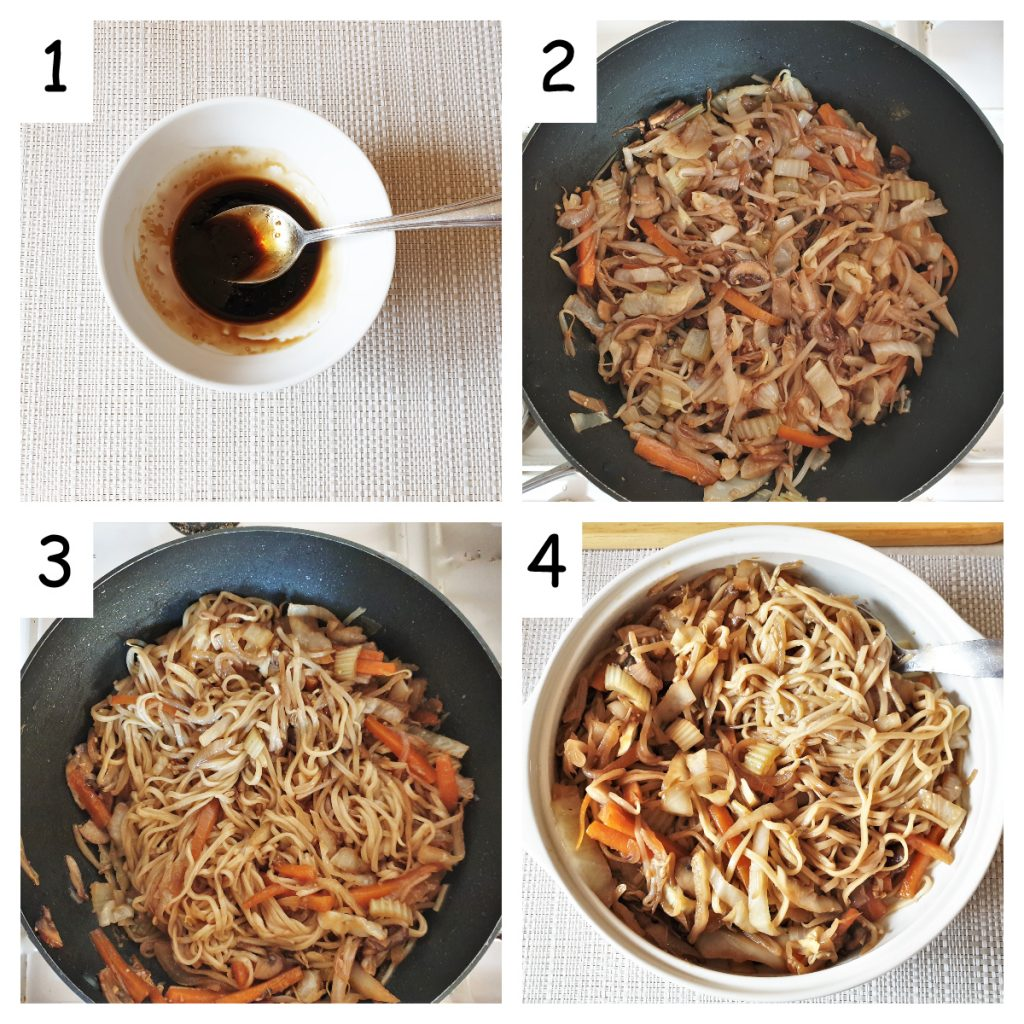 Second collage of images showing steps for making chow mein.