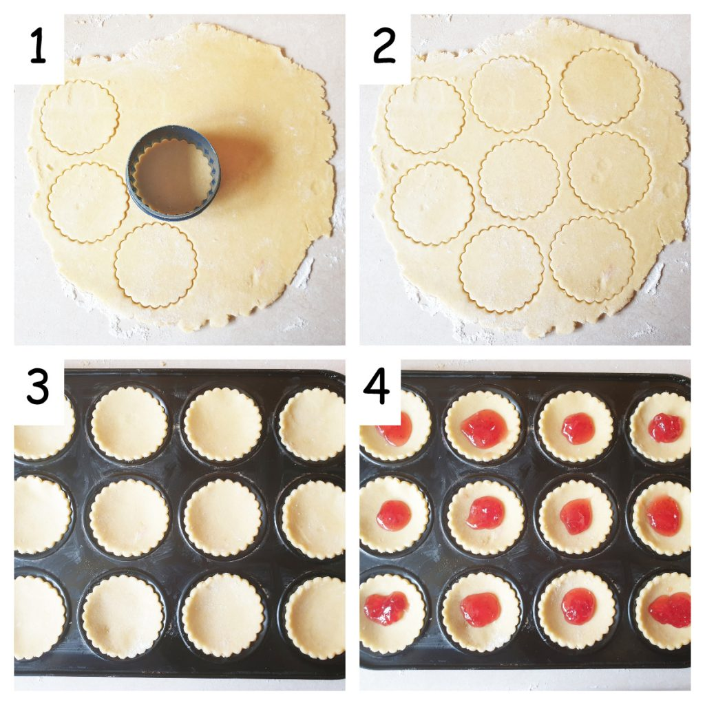 Collage showing how to line a jam tart tin with pastry.