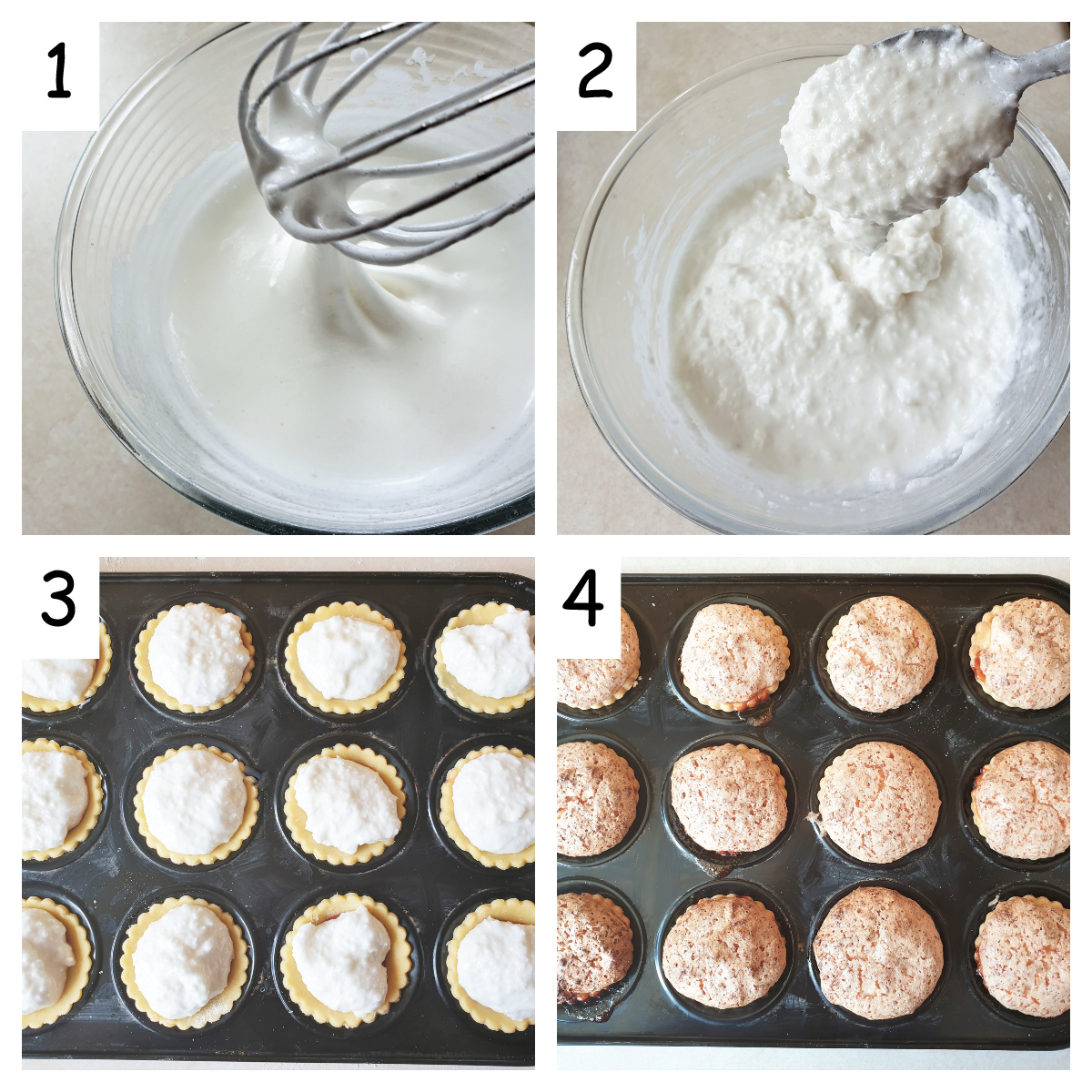 Collage showing how to cover jam tarts with meringue.