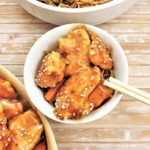 A dish of sesame chicken.