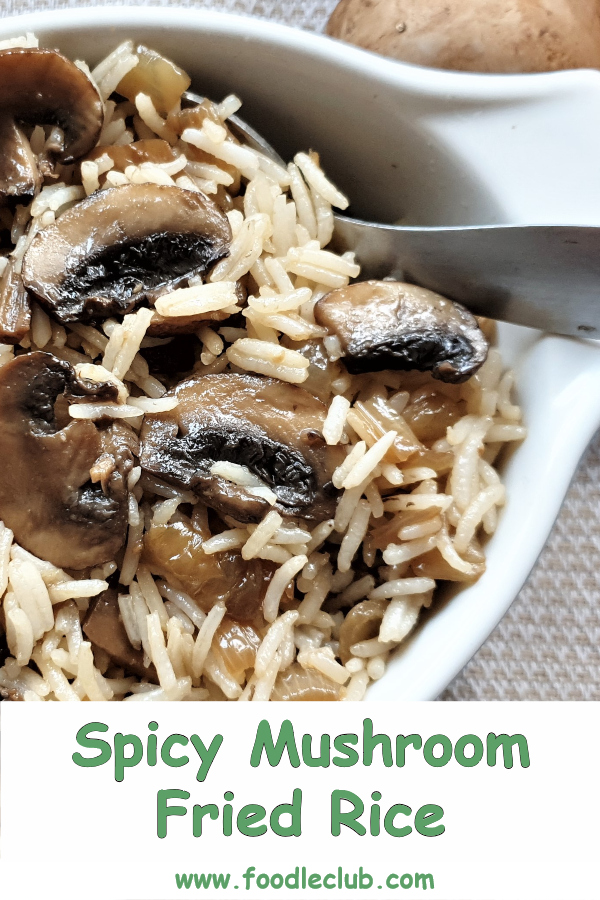 Pinterest image of a dish of mushroom fried rice.