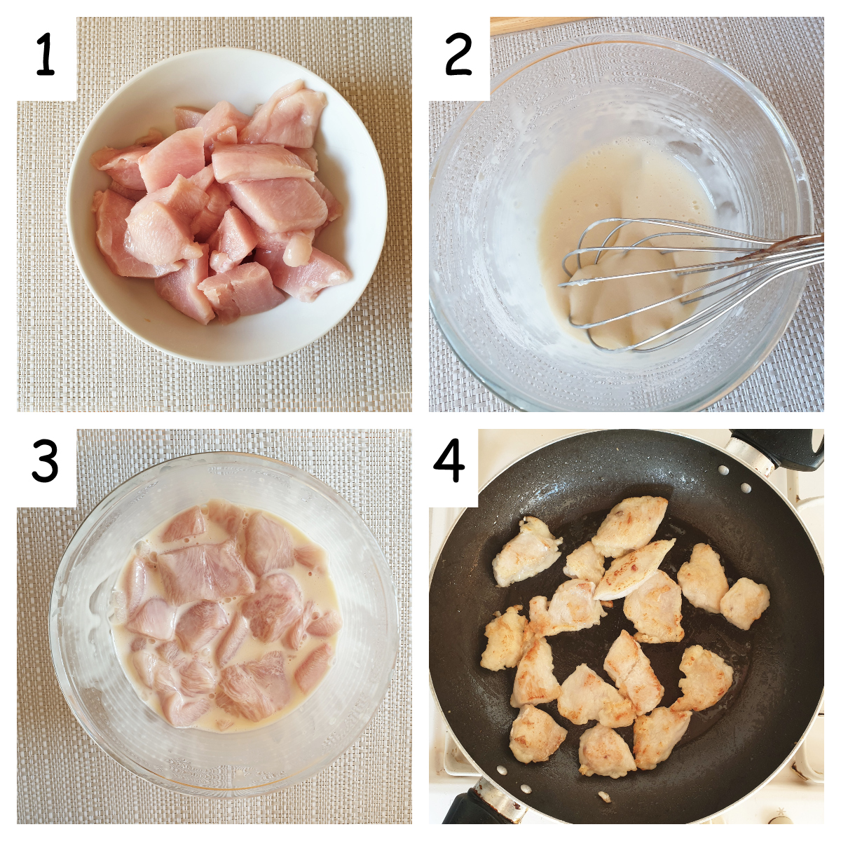 First collage of images showing steps for making sesame chicken.