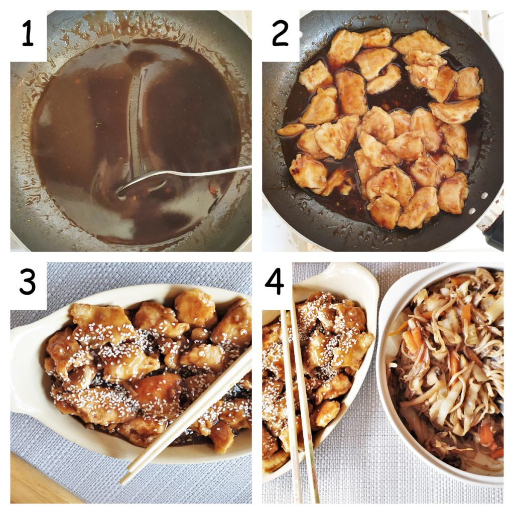 Second collage of images showing steps for making sesame chicken.