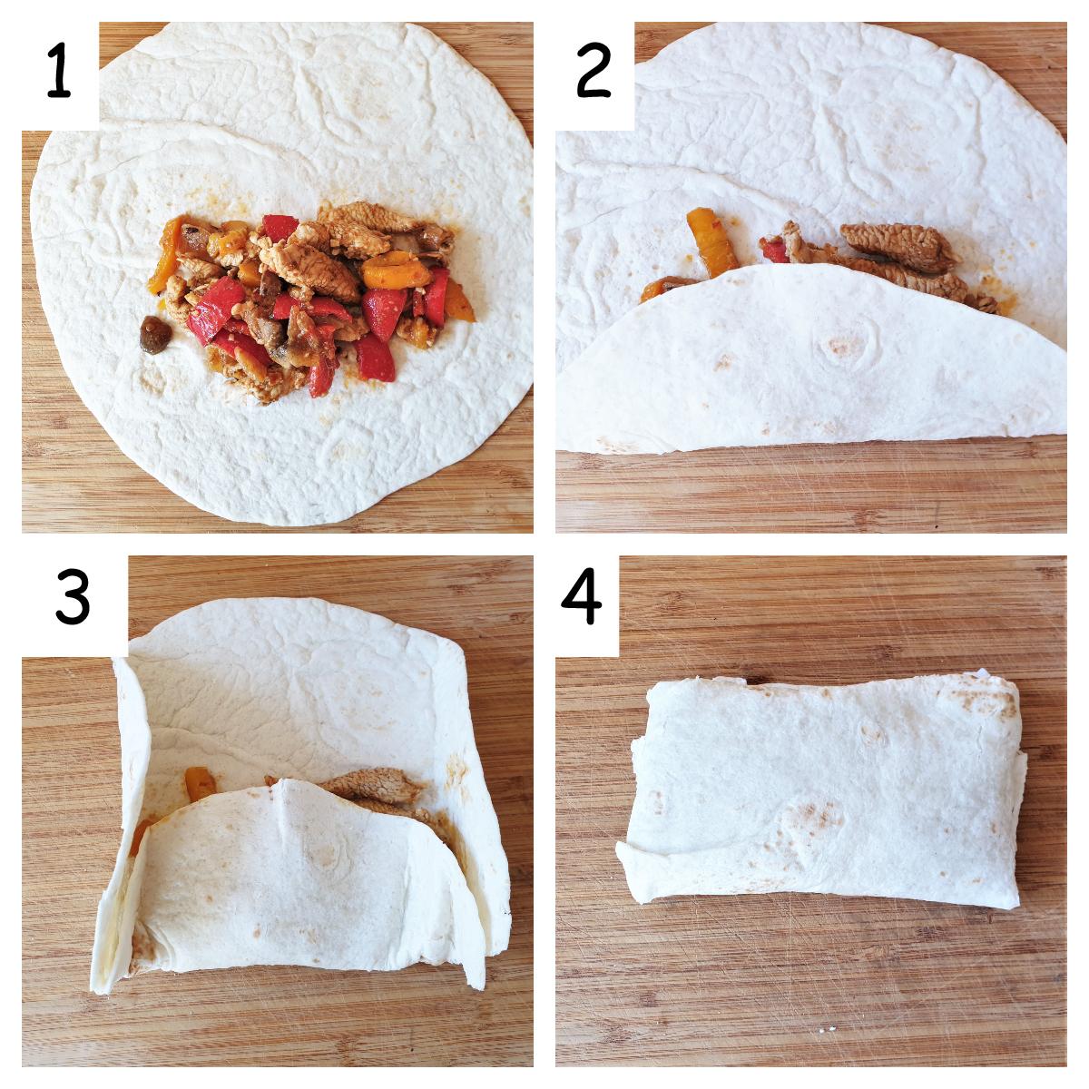 Collage showing steps for folding turkey fajitas.