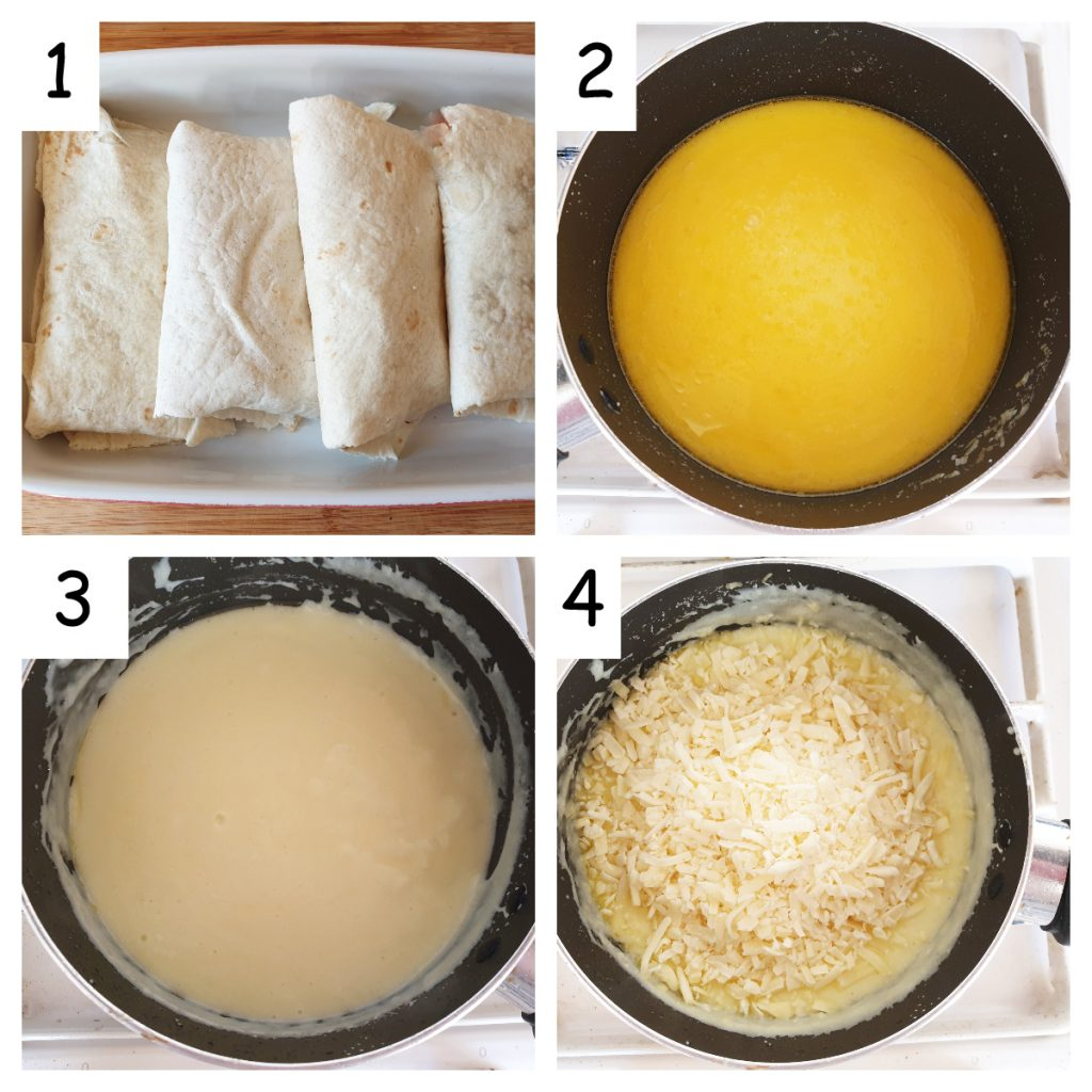Collage showing steps for making cheese sauce.